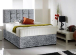 FREE SAMEDAY DELIVERY Luxury Crushed Velvet Bed set  Bed Mattress Diamante Headboar