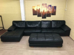 Huge Dark Navy Blue Leather Corner Sofa